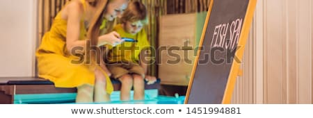 Anya fiú hal fürdő szalag hosszú Stock fotó © galitskaya