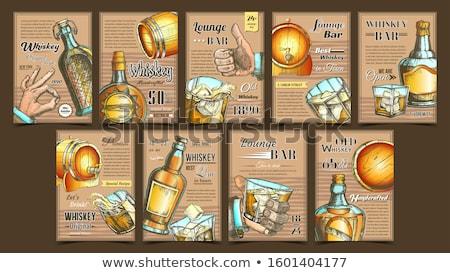 Whiskey társalgó bár hirdetés plakátok szett Stock fotó © pikepicture