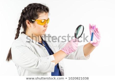 Kız bilim cüppe yalıtılmış örnek mutlu Stok fotoğraf © bluering