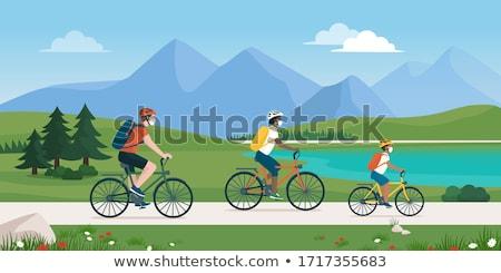 Személy biciklizik hegy férfi utazó vektor Stock fotó © robuart