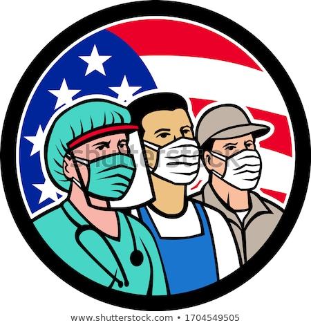 American Trucker Wearing Mask USA Flag Circle Mascot Stock photo © patrimonio