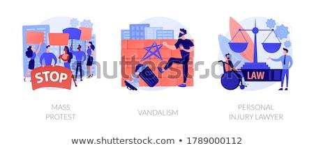 Resumen vector ilustraciones establecer masa protesta Foto stock © RAStudio