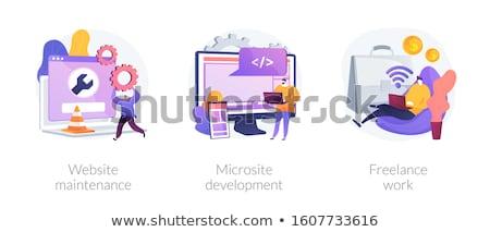 Szabadúszó programozás vektor metafora programozós rajzfilmfigura Stock fotó © RAStudio