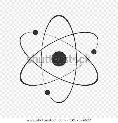 átomo símbolo ícone isolado branco assinar Foto stock © m_pavlov