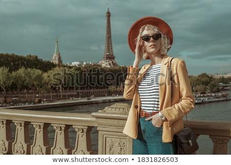 Piros lány csíkos kalap nő arc Stock fotó © Paha_L