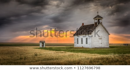 国 教会 小 白 フェンス 嵐の ストックフォト © skylight