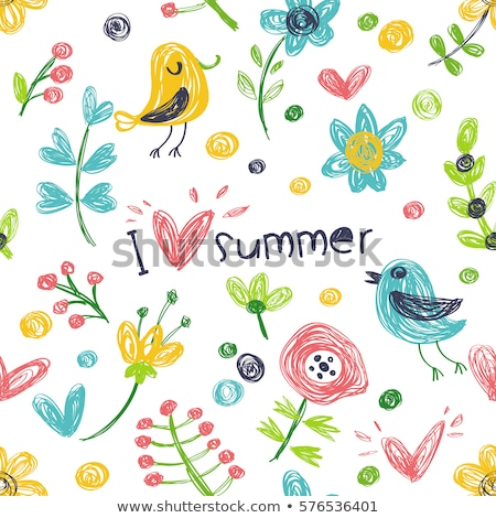 Pretty birds,  flowers and a heart, childrens illustration  stock photo © Julietphotography