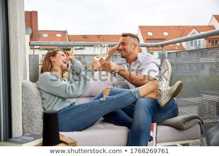 Dwie kobiety szampana flety kobiet krajobraz para Zdjęcia stock © photography33