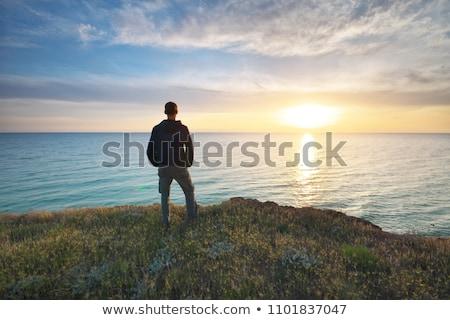 человека глядя из морем счастливым волос Сток-фото © photography33