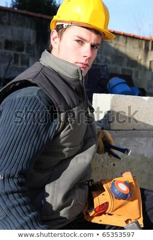 портрет молодые каменщик здании мальчика работник Сток-фото © photography33