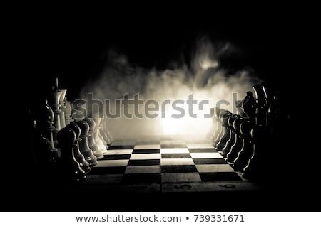 Satranç tahtası odak beyaz kral kraliçe tablo Stok fotoğraf © artush