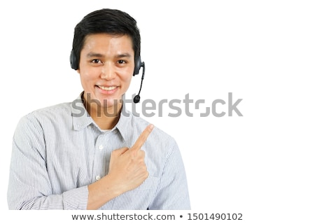 Call center woman dealing with the customer wearing headset Stock photo © get4net