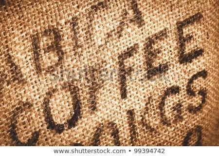 Woord koffie jute koffiebonen textuur abstract Stockfoto © vlad_star