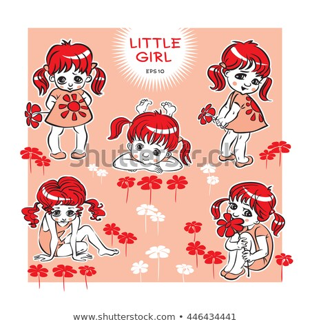 Little girl with red haired dolly, vector illustration Stock photo © carodi