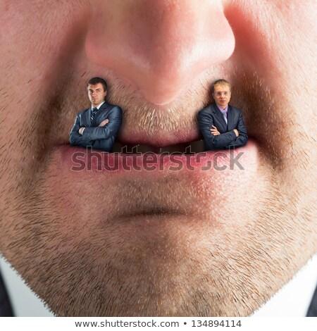 Férfi vámpír támadás fotó nyitott szájjal mutat Stock fotó © sumners