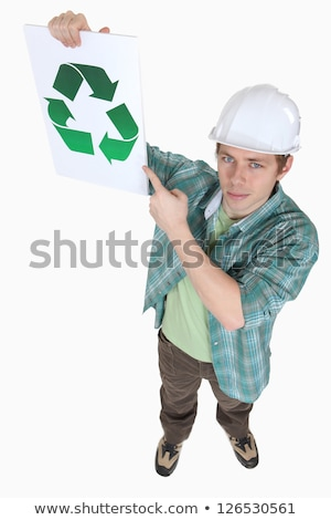builder pointing to recycle sign stock photo © photography33