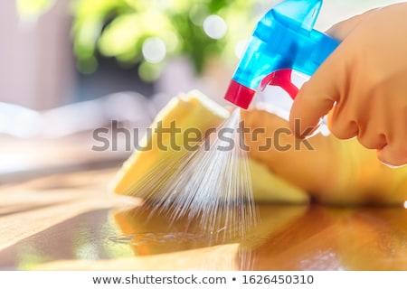 Mujer limpieza esponja detergente aerosol bano Foto stock © wavebreak_media