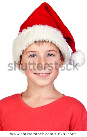 nevet · fiú · mikulás · kalap · izolált · fehér - stock fotó © annakazimir