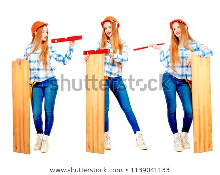 Carpenter with a spirit level and blank board Stock photo © photography33