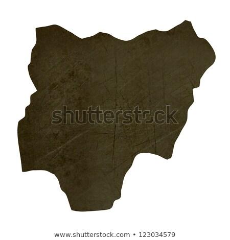 Dark silhouetted map of Nigeria Stock photo © speedfighter