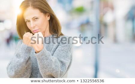 Foto stock: Bela · mulher · modelo · pronto · lutar · belo · mulher · jovem
