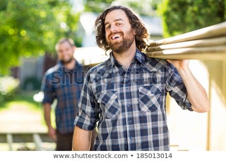 Artesano riendo papel casa sonrisa construcción Foto stock © photography33