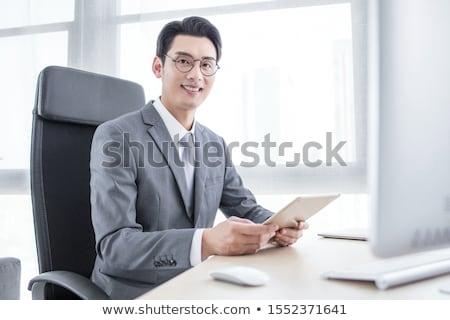 Asia · hombre · de · negocios · escrito · Foto · marcador - foto stock © szefei