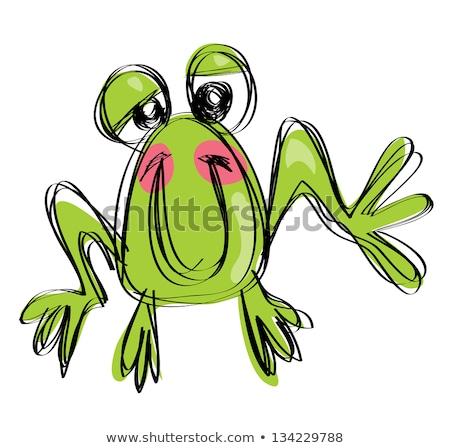 Cartoon baby smiling frog in a naif childish drawing style Stock photo © Thodoris_Tibilis