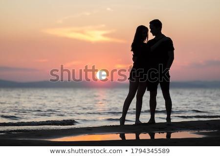 Boldog gondtalan romantikus fiatal pér áll felső Stock fotó © stryjek