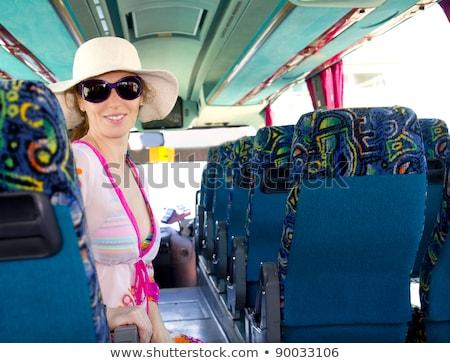 mutlu · genç · kadın · oturma · seyahat · otobüs · tren - stok fotoğraf © lunamarina