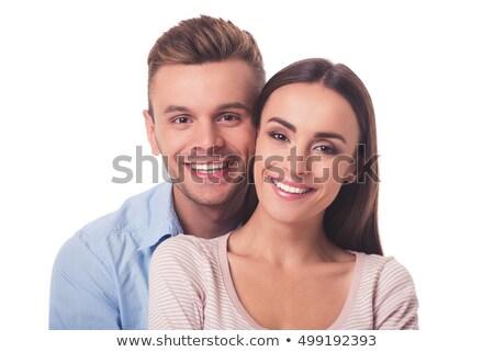 年輕 · 浪漫 · 情侶 · 看 · 相機 · 孤立 - 商業照片 © stryjek