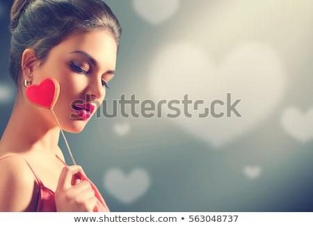 Kız kalp sevgililer günü mavi kadın gülümseme Stok fotoğraf © fotoatelie