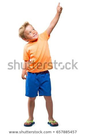 肖像 かわいい 少年 オレンジ シャツ 笑みを浮かべて ストックフォト © meinzahn