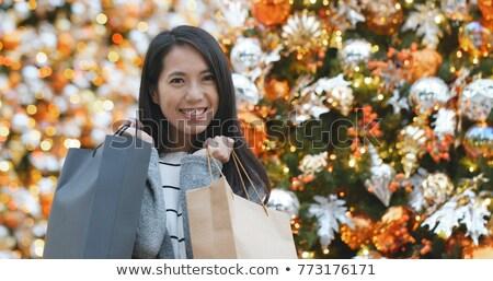 Piękna kobieta christmas zakupy portret piękna młoda kobieta Zdjęcia stock © jaykayl