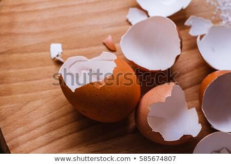 Huevo conchas mesa vacío saludable calcio Foto stock © ajt