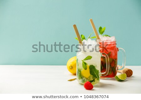 Refreshing glass of non alcohol cold green drink  Stock photo © punsayaporn