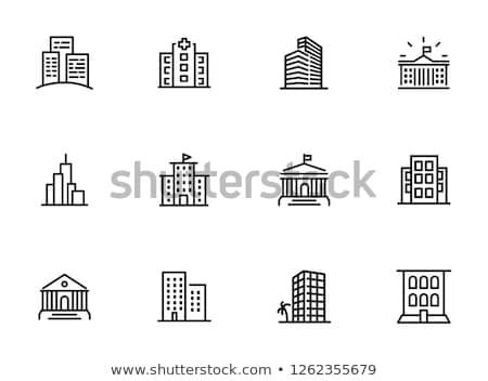商業ビル · アイコン · 黒白 · セット · 家 · 市 - ストックフォト © lenm