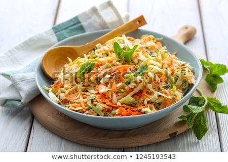 friss · zöld · saláta · előkészített · fehér · étel - stock fotó © yelenayemchuk