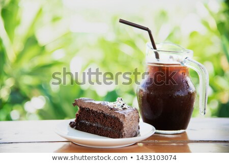Delicioso bolo de chocolate bebida fria estoque foto natureza Foto stock © nalinratphi