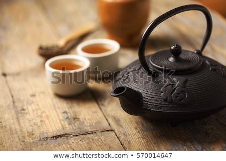 Retro tea szett hagyományos fa asztal klasszikus Stock fotó © feelphotoart