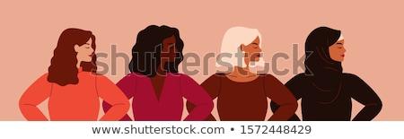 ストックフォト: 女性 · 小さな · セクシーな女性 · ポーズ · ランジェリー · 顔