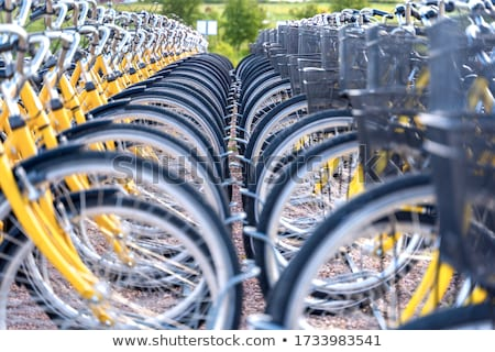 Istasyon kentsel bisikletler kira bayan klavye Stok fotoğraf © kasto