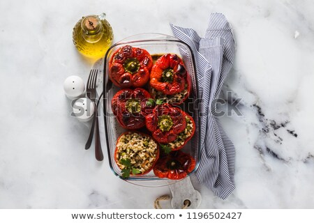 Red Tomatoes and Yellow Bell Pepper on a Tray Stock photo © ozgur