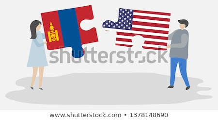 Stock photo: USA and Mongolia Flags in puzzle