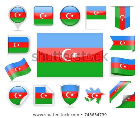 Vierkante label vlag Azerbeidzjan geïsoleerd witte Stockfoto © MikhailMishchenko