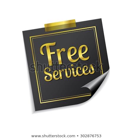 Gratis diensten gouden sticky notes vector icon Stockfoto © rizwanali3d