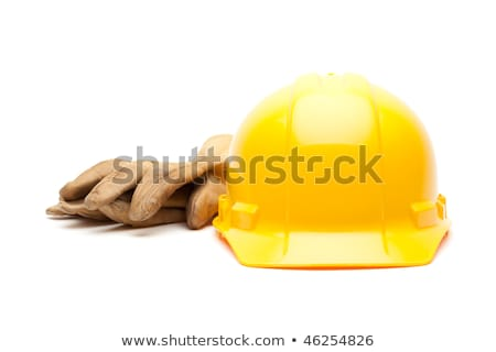 Yellow Hard Hat, Gloves and Hammer on White Stock photo © feverpitch