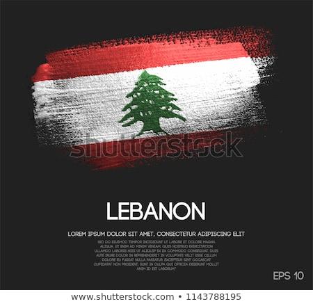 Lübnan ülke bayrak harita biçim metin Stok fotoğraf © tony4urban
