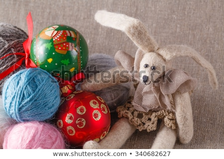 Tilda rabbit doll with clew and cristmas ball Stock photo © AndreyCherkasov