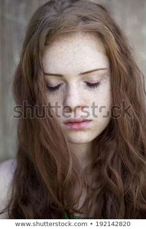 Portrait of Russian girl with a closed eyes Stock photo © svetography